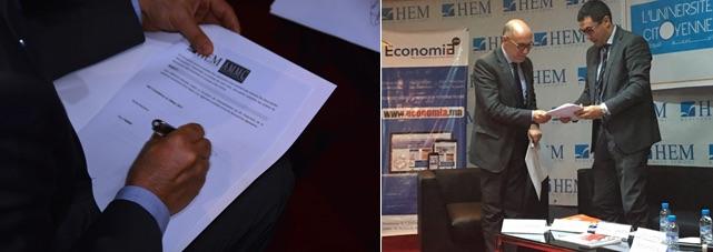 L'Association Marocaine du Marketing et de la Communication et HEM ont procédé à la signature d'une convention de partenariat. Cette convention a pour objet de formaliser la volonté et l'engagement de HEM et de l'Association de développer des actions de partenariat, notamment dans les champs de la formation, de la communication et de l'événementiel, et plus largement dans tout domaine permettant le développement de projets communs entre les deux parties. En plus des échanges d'expertises professionnelles et académiques entre les deux institutions, la convention permettra la Co-organisation entre l'Association des Marketeurs et HEM ou son centre de recherche, le Cesem, d'événements (débats, séminaires, études…) autour du marketing et de la communication, et autres domaines d'intérêt commun. Cette convention a été signée lundi 13 Mars à Rabat par MM. Hassan Sayarh, Directeur Général & Directeur des Etudes Groupe HEM et Khalid Baddou, Président de l'Association Marocaine du Marketing et de la Communication.